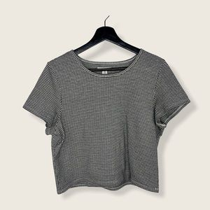 American Eagle Gingham Cropped T-shirt Black White